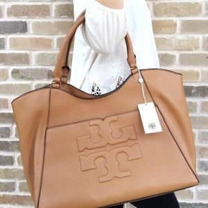 Tory Burch Bags - Tory Burch Bombe Large east West Tote bark tan 6c0150db16357